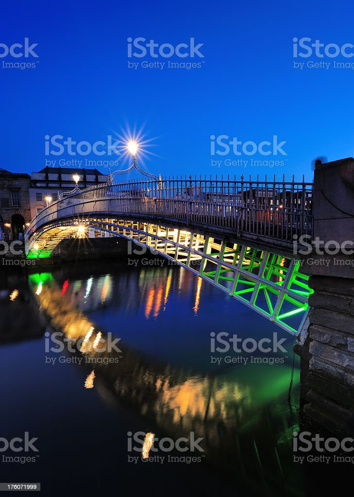 dublin, ha`penny bridge stock photo