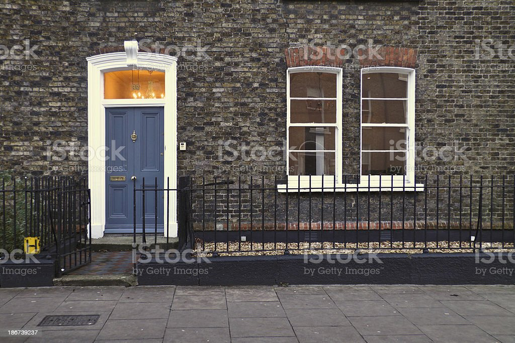 Dublin house with blue door royalty-free stock photo