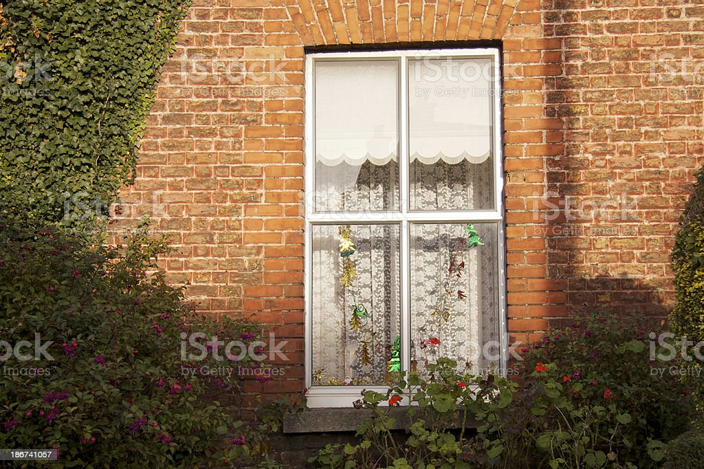 Dublin house with decorated window royalty-free stock photo