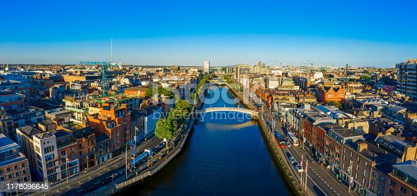 Dublin Ireland with Liffey river aerial view