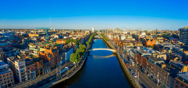 Dublin Ireland with Liffey river aerial view stock photo