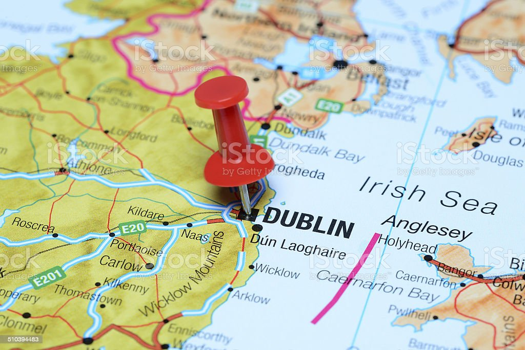 Dublin pinned on a map of europe stock photo