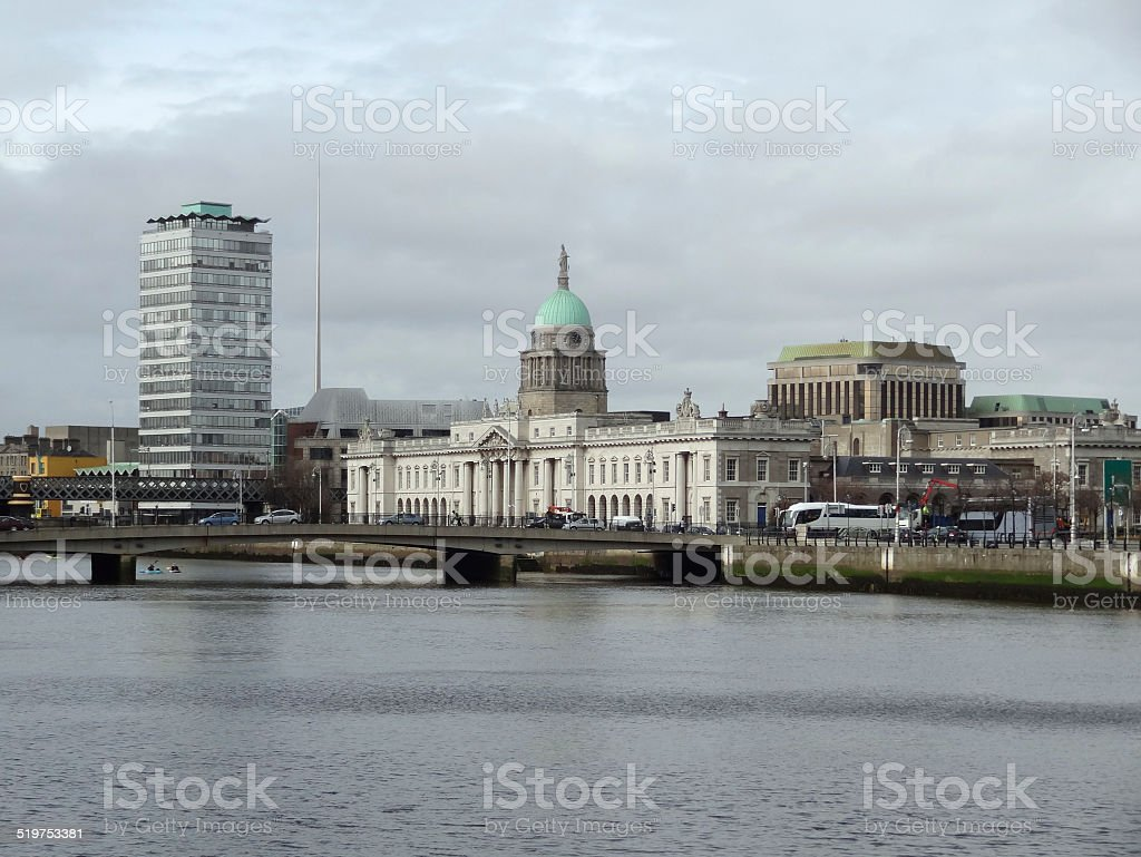 Dublin with Custom House stock photo