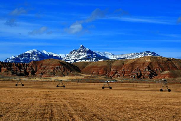 Dubois Wyoming Mountain Farming View stock photo