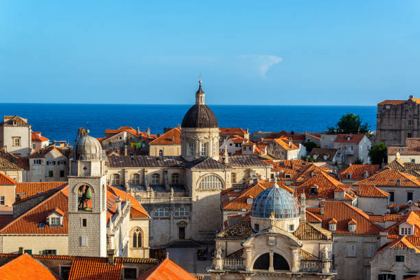Dubrovnik Cityscape and Adriatic Sea stock photo