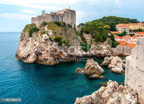 A panoramic view of the historic old town of Dubrovnik with Fort Lovrijenac.