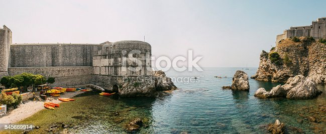 A panoramic view of the walls of Dubrovnik in Croatia.