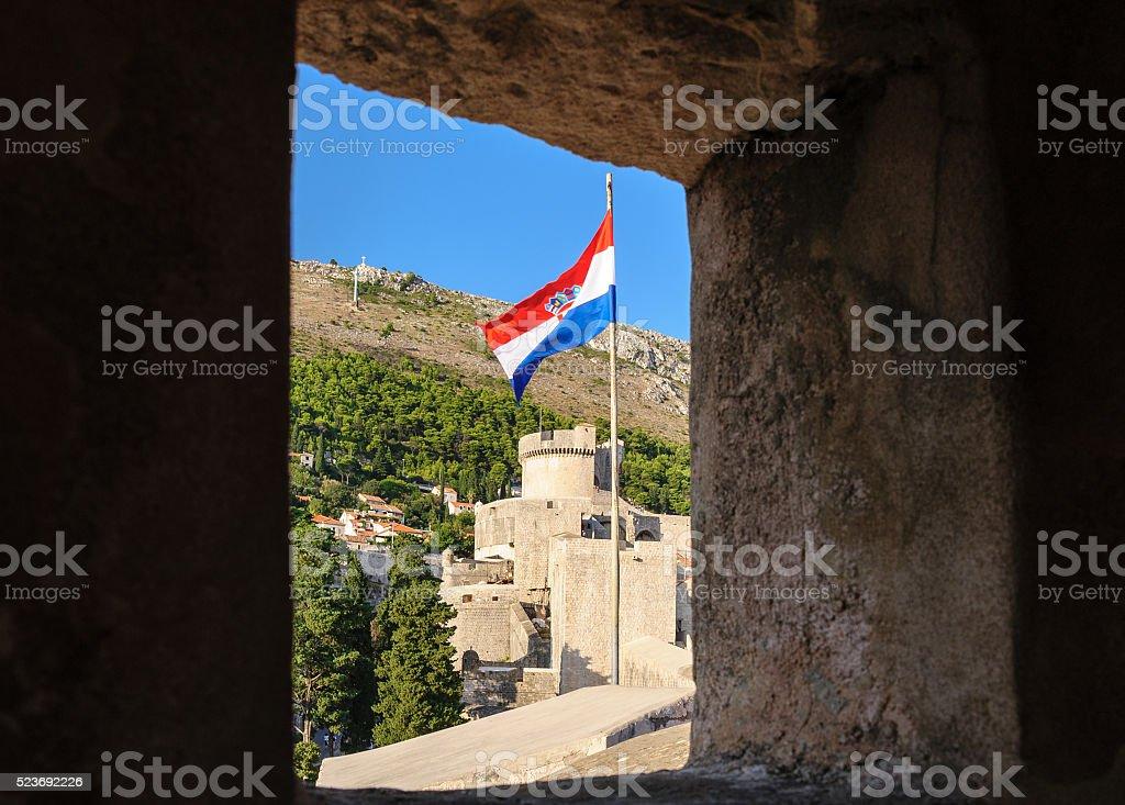 Dubrovnik Bandiera della Croazia - foto stock