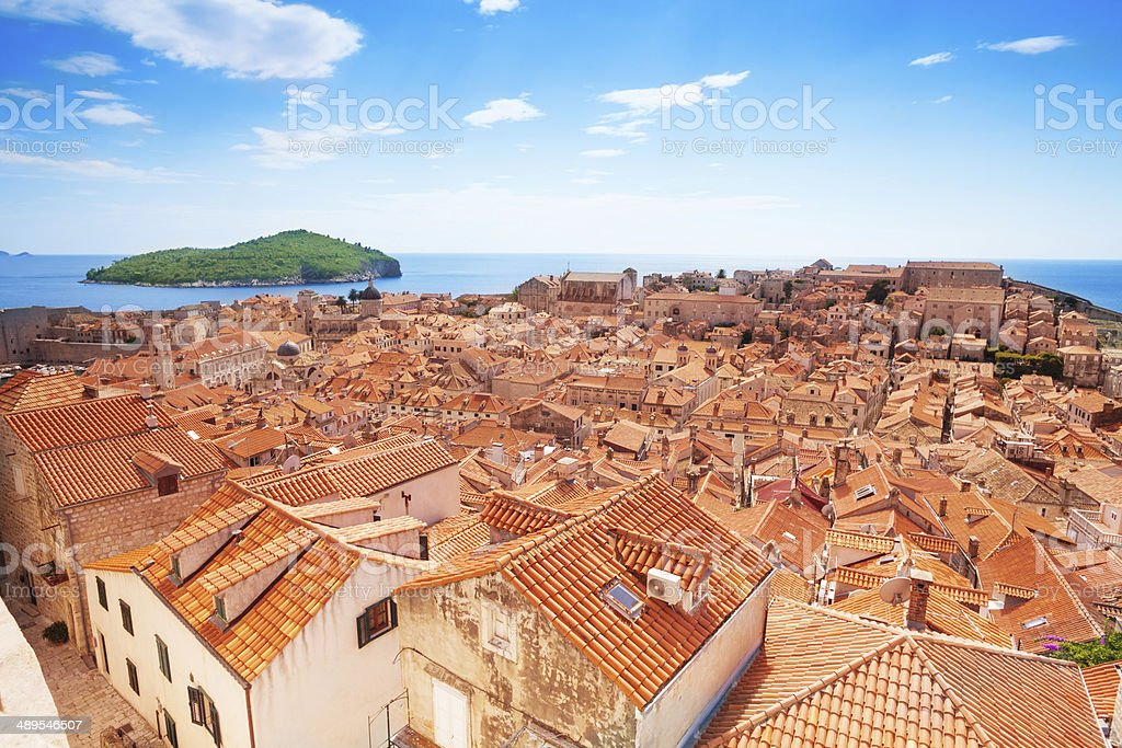 Dubrovnik from the wall and Lokrum island stock photo