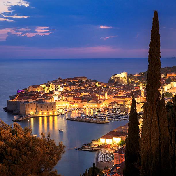 Dubrovnik in Croatia at night stock photo
