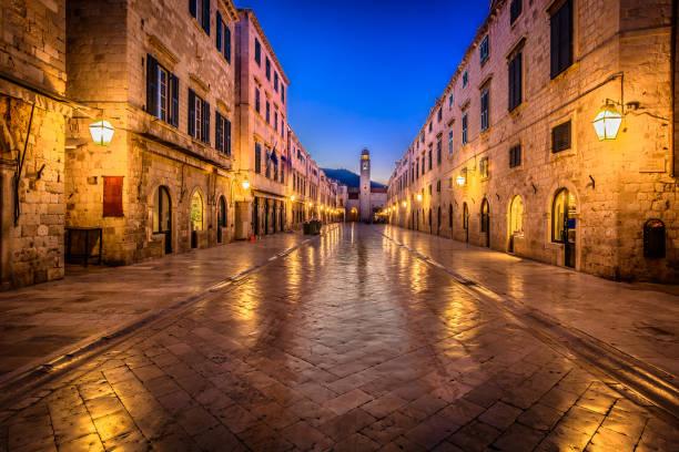 Dubrovnik night Stradun street. Scenic night view at famous historic Stradun street in Dubrovnik, popular landmark in Croatia summertime, Europe. croatian culture stock pictures, royalty-free photos & images