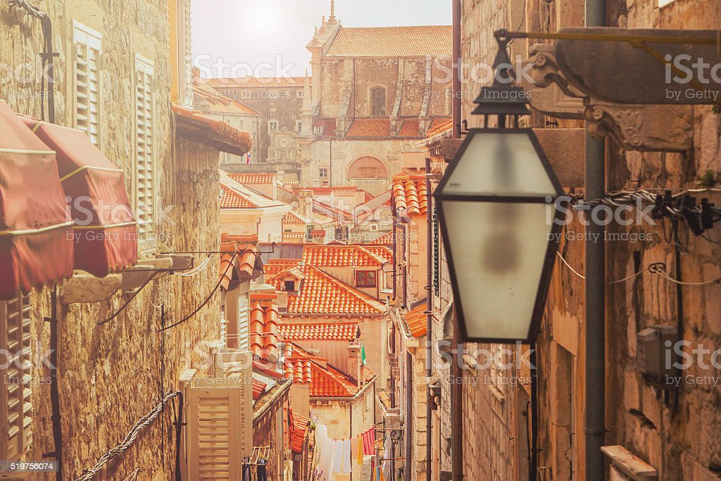 Dubrovnik old city, Croatia, warm filter, lens flare stock photo