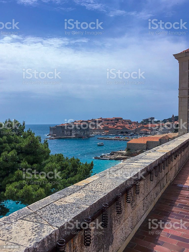 Dubrovnik Old Port and Old Town from a terrace ストックフォト
