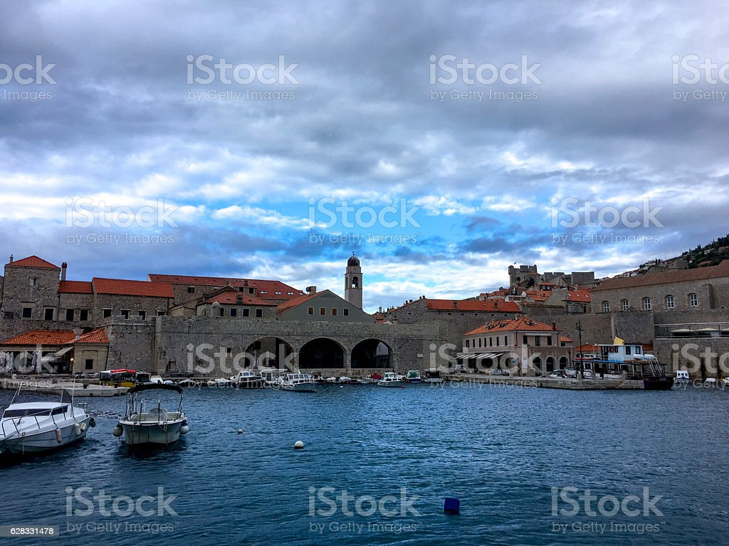 Dubrovnik Old Port with blue cloudy sky ストックフォト