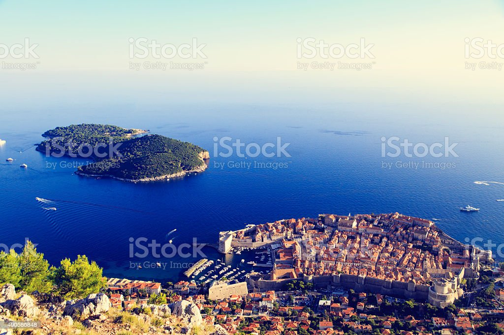 Dubrovnik Old Town in Croatia, aerial view stock photo