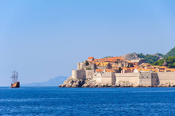 Dubrovnik old town sea view stock photo