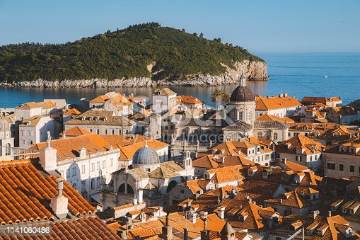 Classic panoramic view of the historic town of Dubrovnik, one of the most famous tourist destinations in the Mediterranean Sea, at sunset, Dalmatia, Croatia