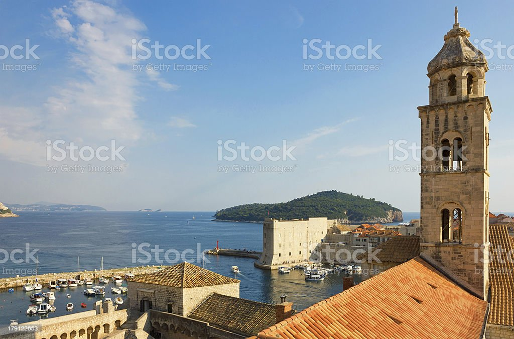 Dubrovnik, The Dominican Monastery Bell Tower and Harbor stock photo