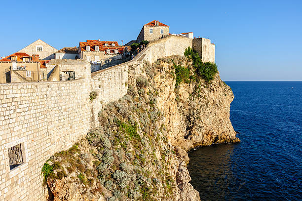 Dubrovnik west defense walls stock photo