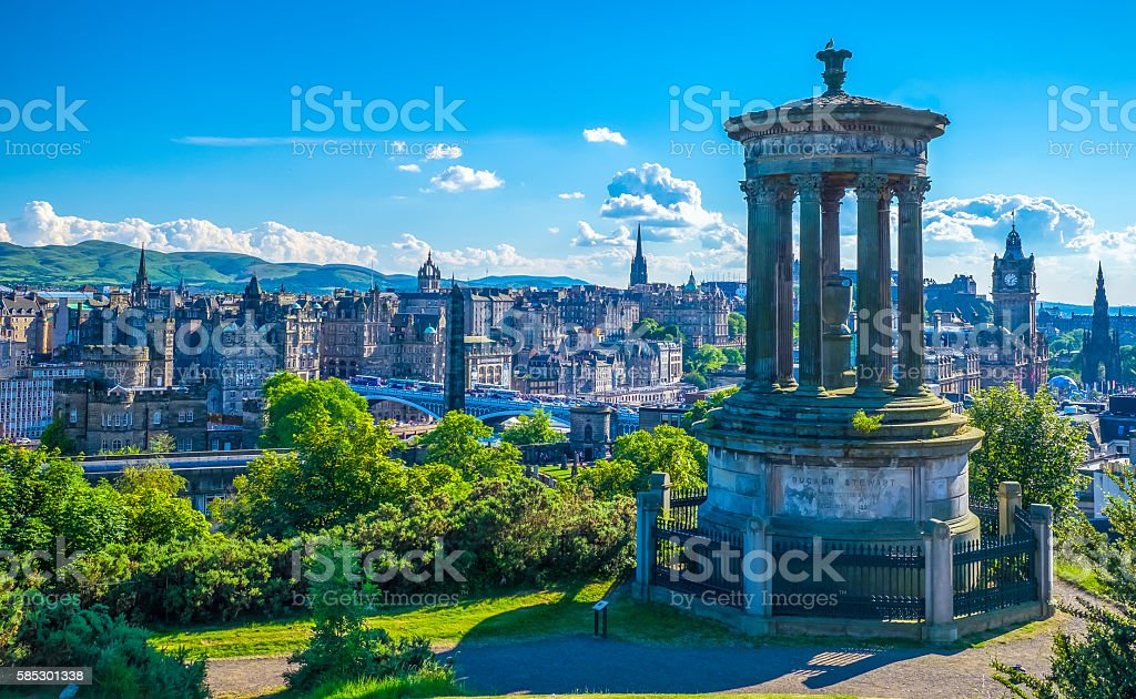 Ducald Stewart Monument on Calton Hill in Edinburgh stock photo