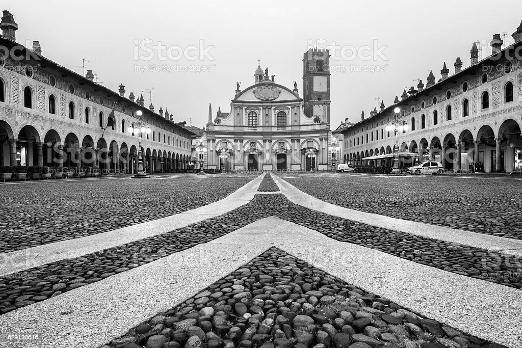 Ducale square Vigevano Black and white stock photo