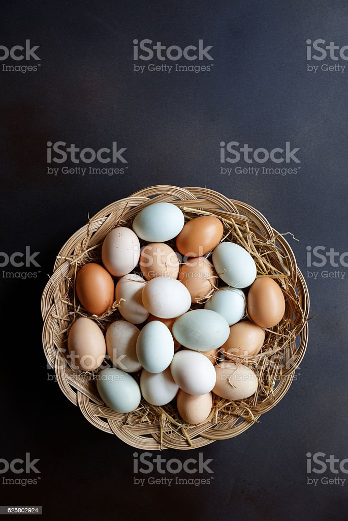 Duck and Hen Eggs stock photo