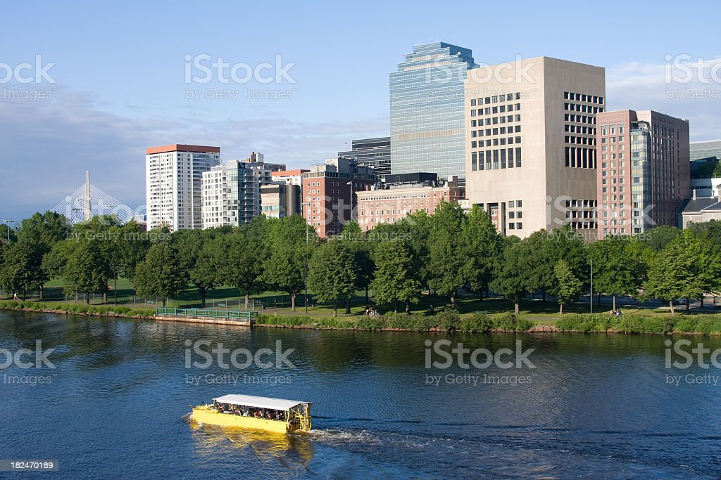 Duck Boat on the Charles River in Boston royalty-free stock photo