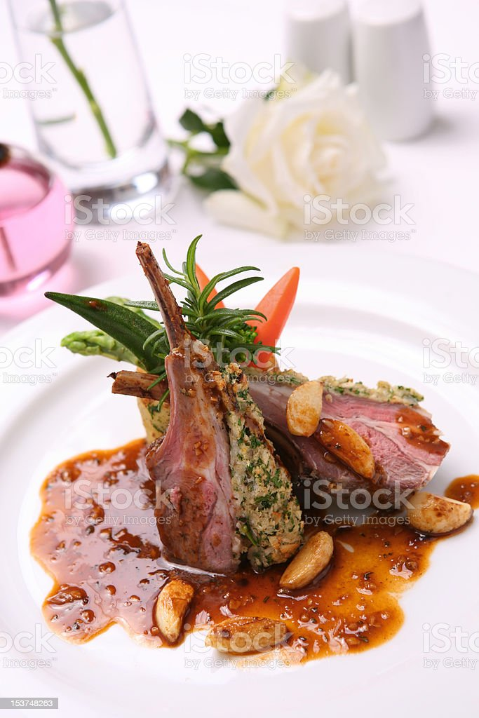 Duck breast grilled in the red wine sauce royalty-free stock photo