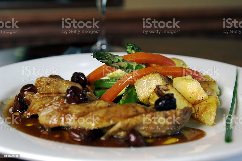 Duck Breast With Cherries royalty-free stock photo