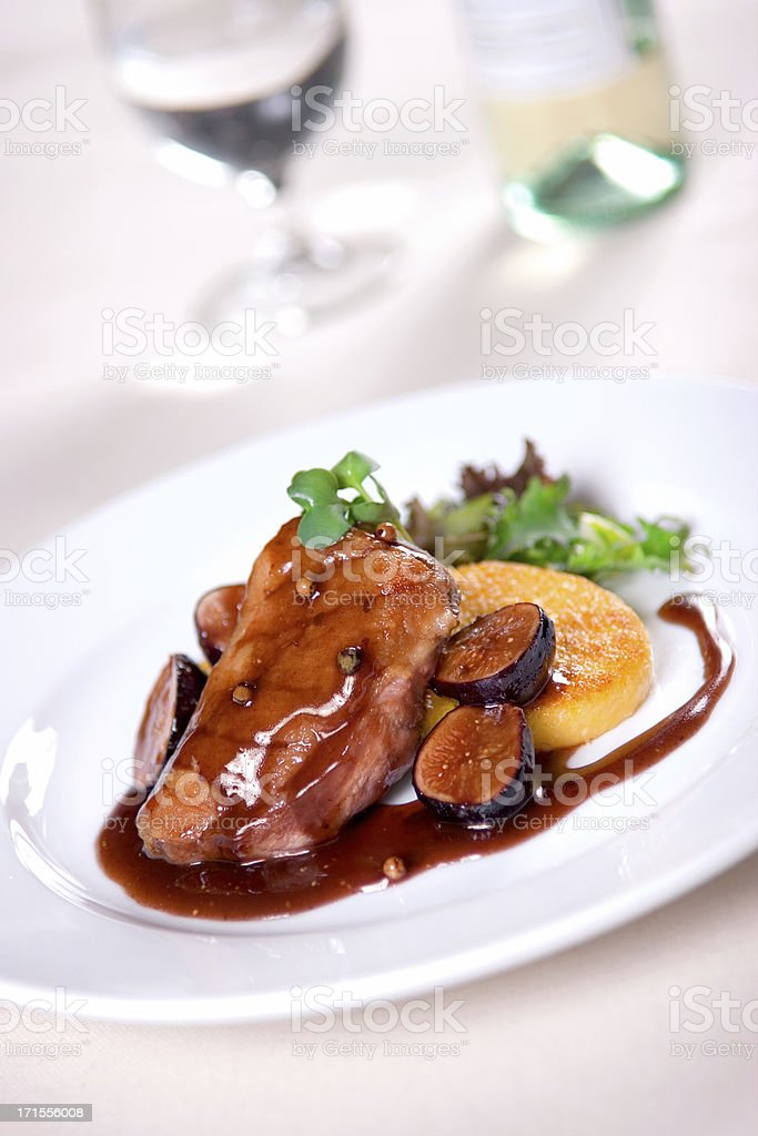 Duck Breast with Figged Port Demi Glace royalty-free stock photo