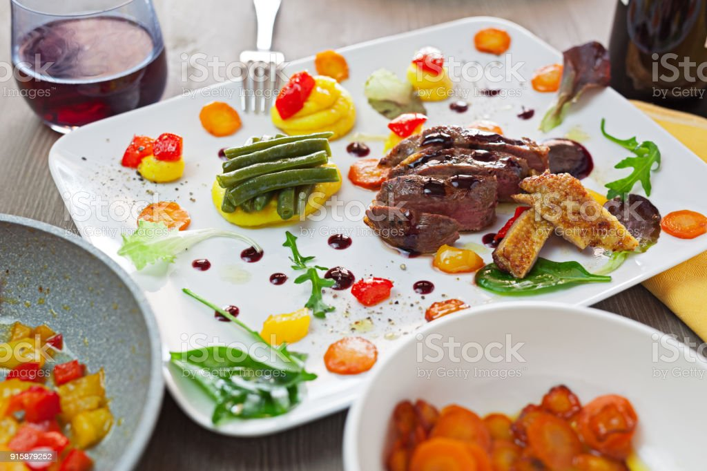 Duck brest cooked sous vide stock photo