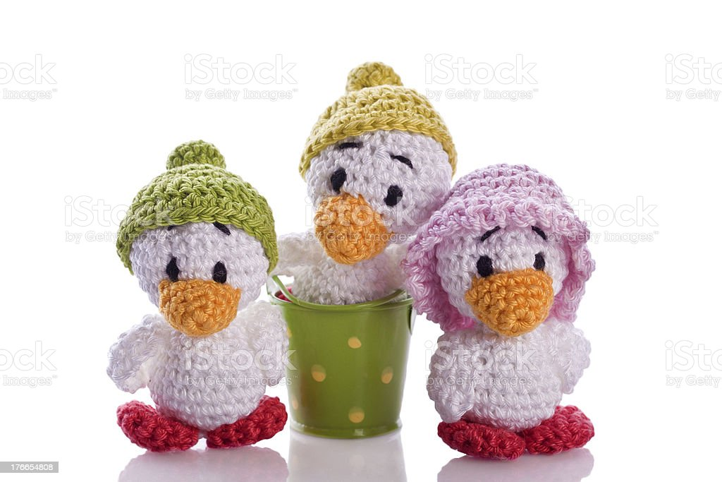 duck chicks with hat and basket royalty-free stock photo