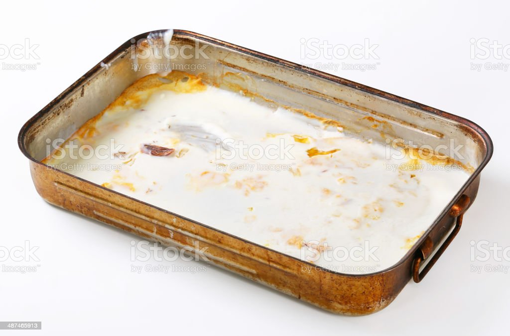 Duck fat in roasting pan stock photo