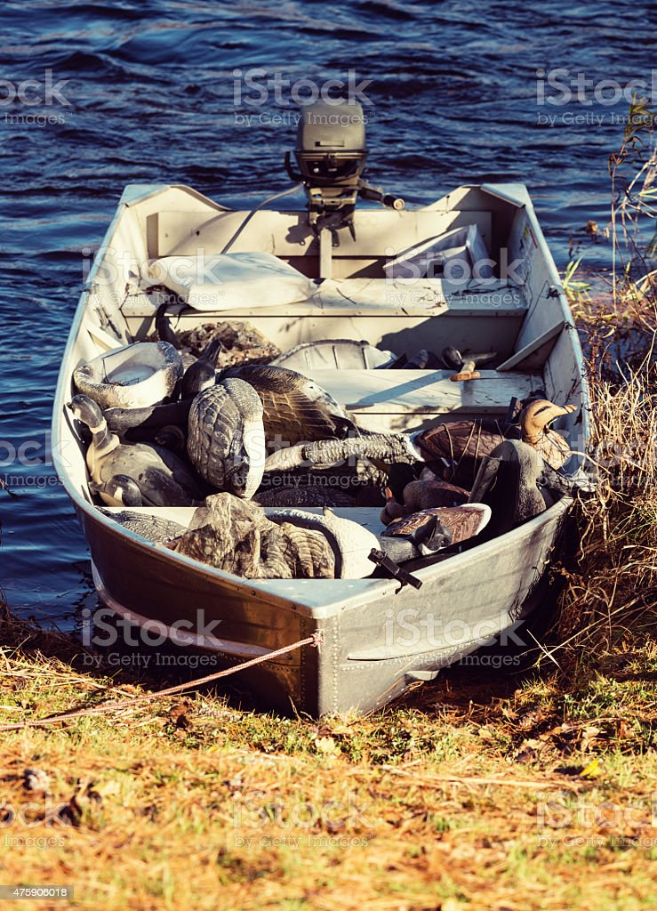 Duck Hunting Boat stock photo