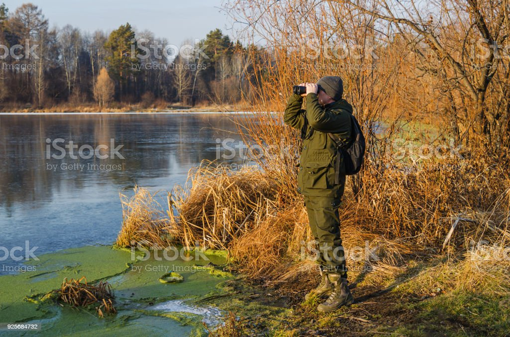 Duck hunting in late autumn stock photo