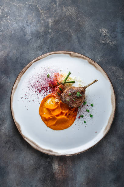 Duck leg confit with batat puree, carrots and couscous, restaurant meal, copy space stock photo