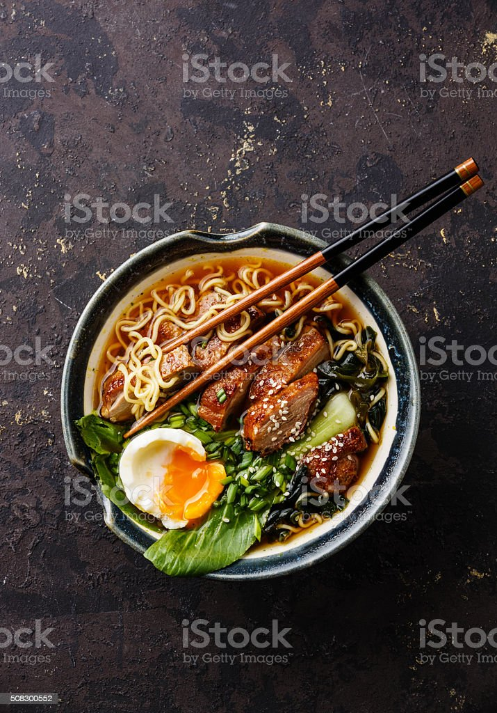 Duck noodles with egg and pak choi cabbage stock photo