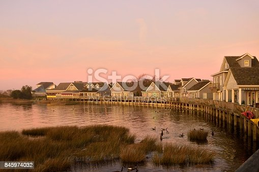 A collection of speciality shops line the shoreline of Currituck Sound in the village of Duck on North Carolina's Outer Banks. The sunset was a bonus for me