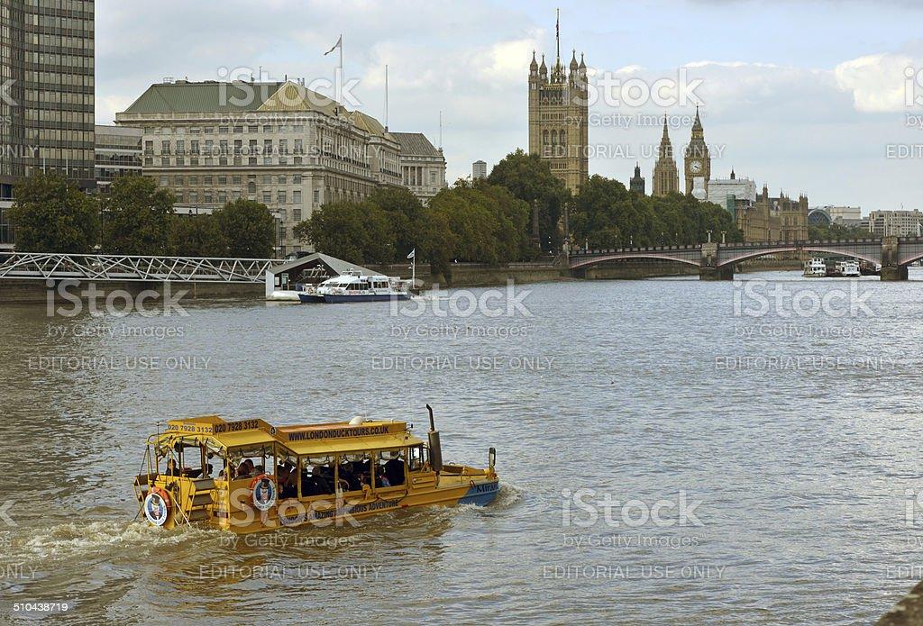 Duck Tour of London stock photo