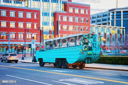 Duck vehicle in downtown Boston, MA, the United States.