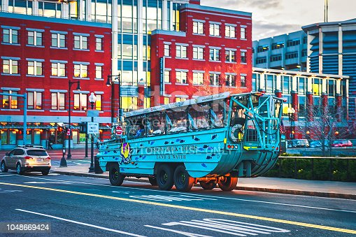 Boston, USA - April 27, 2015: Duck vehicle in downtown Boston, MA, the United States.