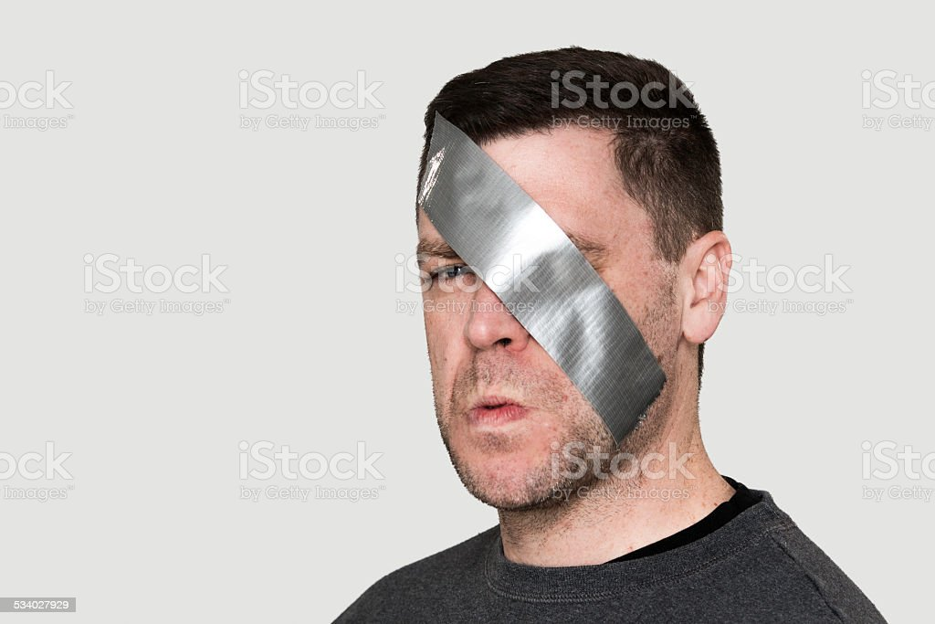 Duct Tape Scowl stock photo