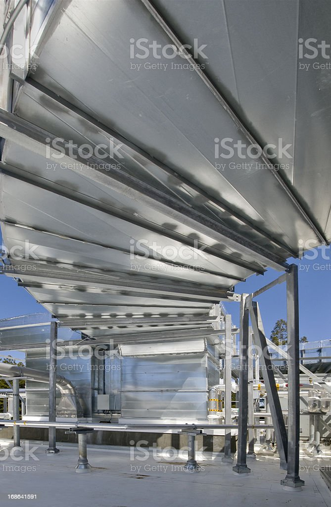 Ducting and Air Handler for HVAC System stock photo