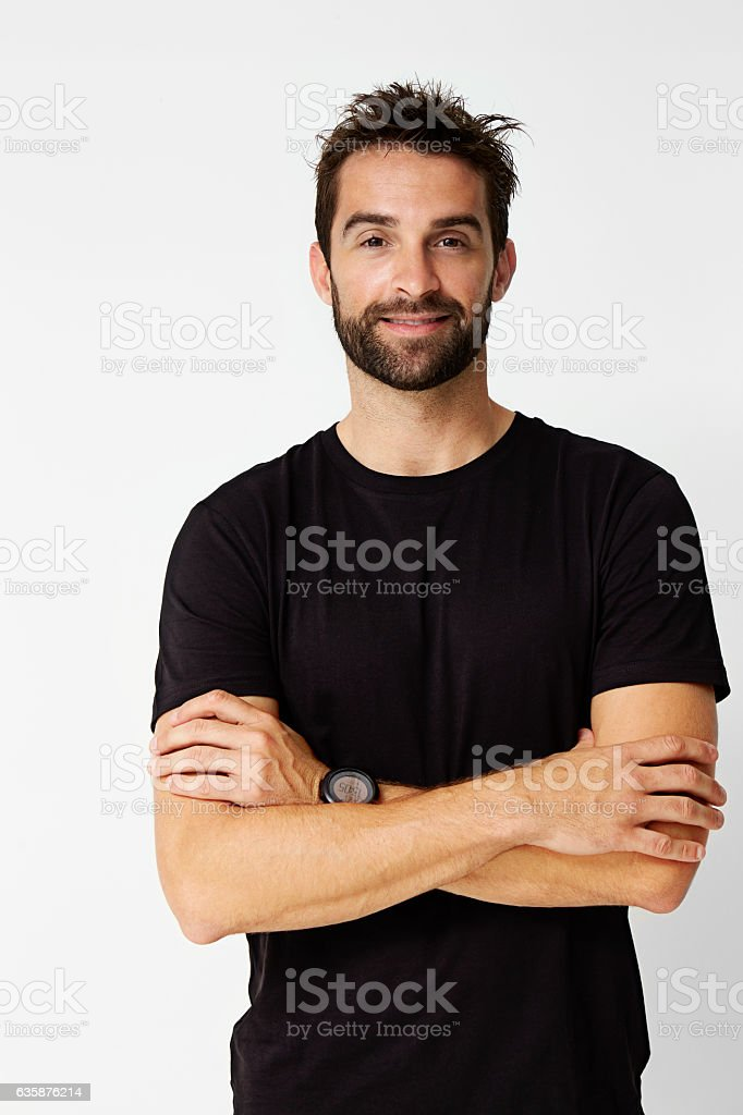 Dude in black stock photo