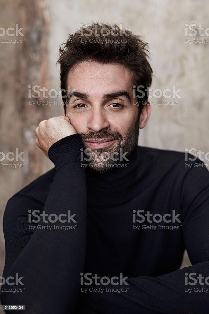 Dude in black sweater stock photo