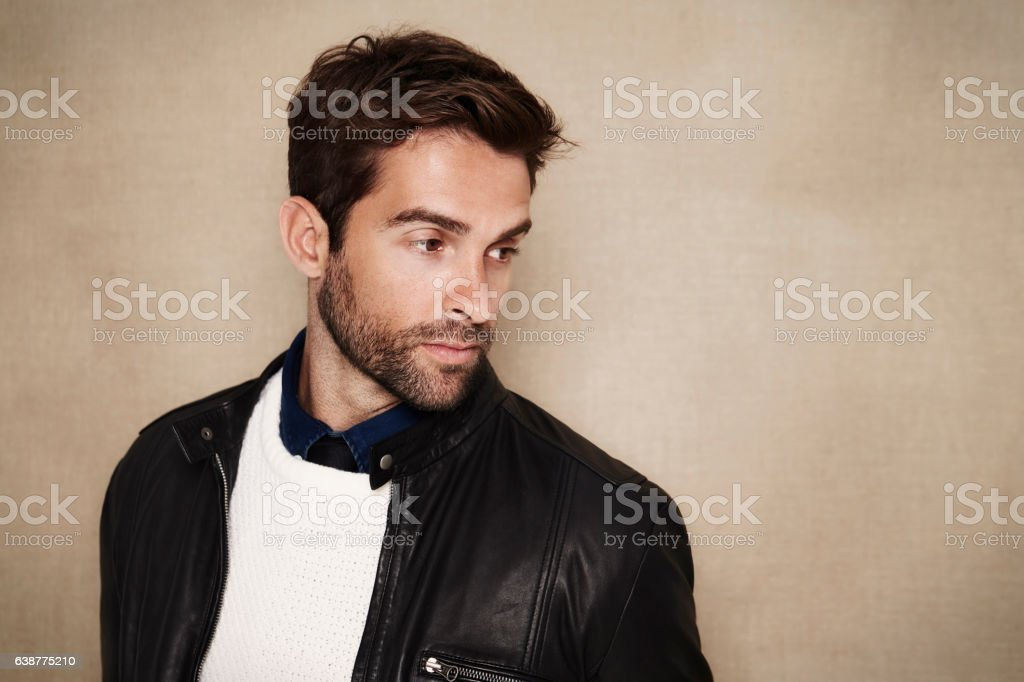 Dude in jacket stock photo