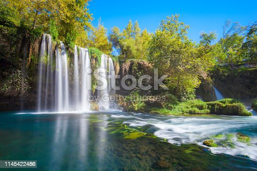 Duden waterfall park in Antalya city in Turkey