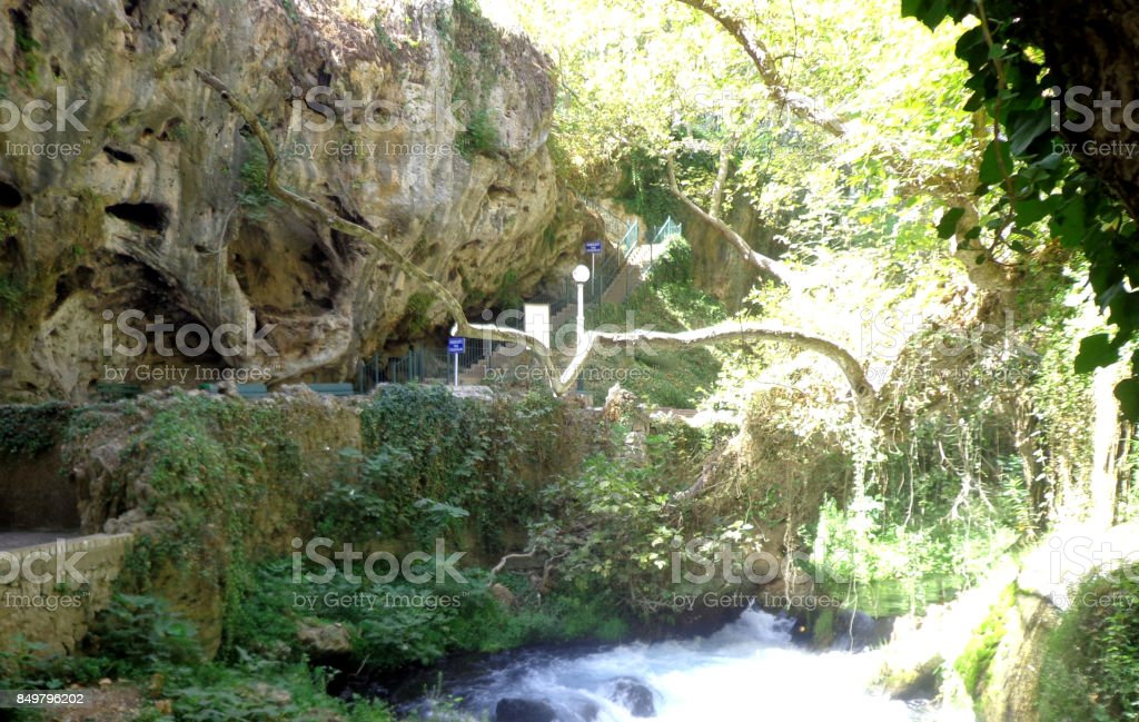 Duden waterfalls and caves in Antalya stock photo