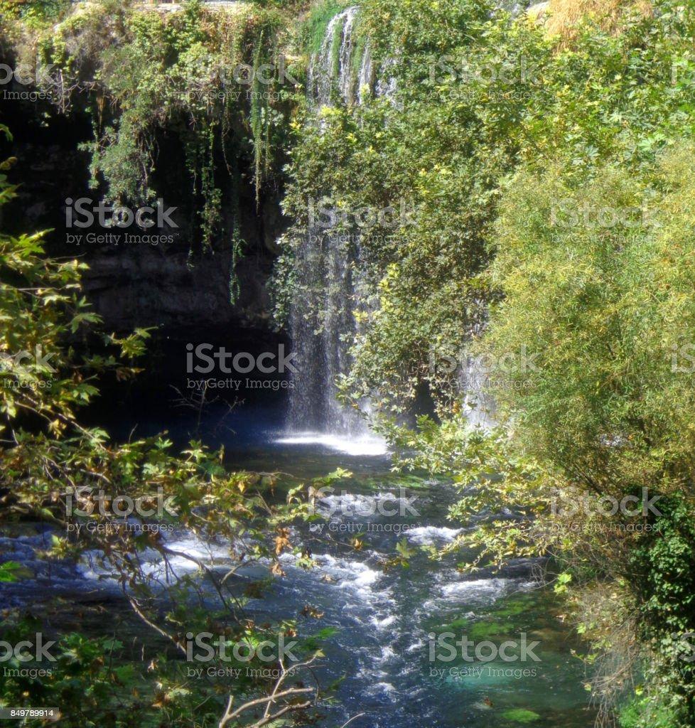 Duden waterfalls park Antalya stock photo