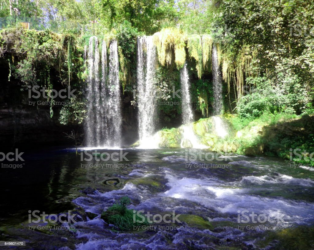 Duden waterfalls park in Antalya stock photo